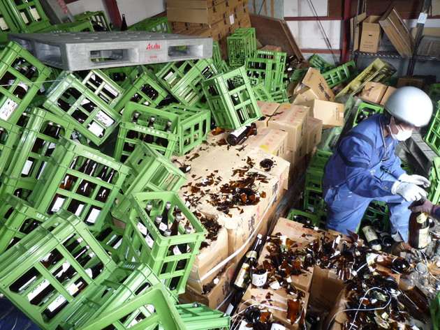 Broken sake bottles following the 2001 earthquake in Japan