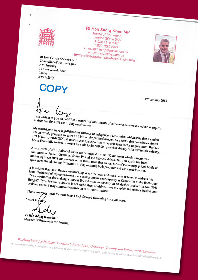 Letter from Rt Hon Sadiq Khan MP to Chancellor George Osborne to cut the duty by 2%