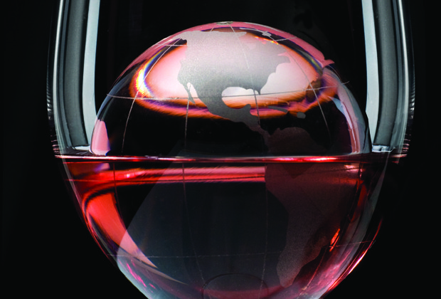 Globe in red wine glass